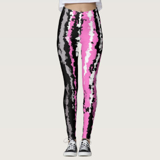 Pink black white and grey abstract stripes leggings