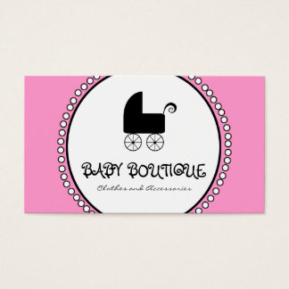 Pink Black White Baby Boutique Business Cards