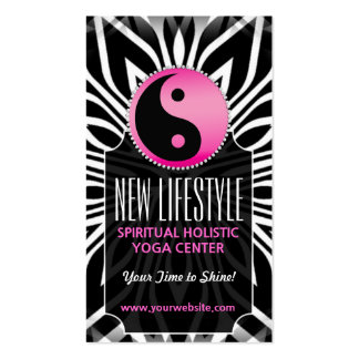 Pink Black White Balance Life Coach Business Card