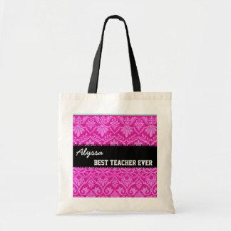 Pink Black White Best Teacher Ever Custom Name Canvas Bags