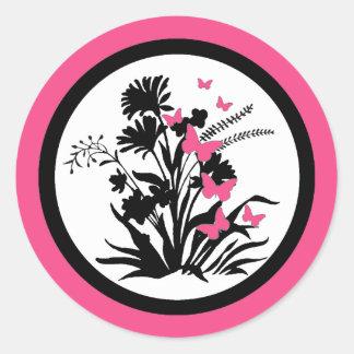 Pink black white butterfly flower envelope seals round sticker