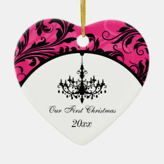 Pink Black White Chandelier Scroll 1st Christmas Ceramic Ornament