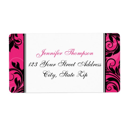 Pink Black White Chandelier, Scrolls Address Label