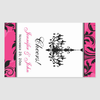 Pink Black White Chandelier Wine Bottle Sticker