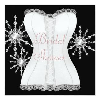 Pink Black White Corset Snowflakes Bridal Shower Personalized Invitation
