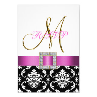 Pink Black White Damask Initial Wedding RSVP Announcements