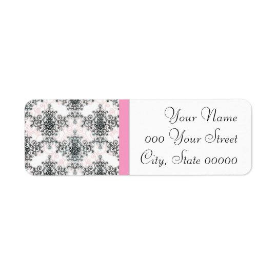 Pink Black White Damask Wedding Return Address Label