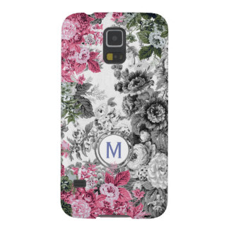 Pink Black & White Floral Garden Monogram Case For Galaxy S5