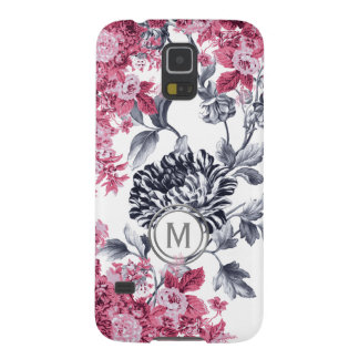 Pink Black & White Floral Garden Monogram Galaxy S5 Cover