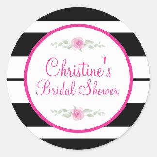 Pink, Black, White, flower Bridal Shower Stickers