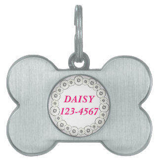 Pink Black White Flowers Personalized Dog Tag