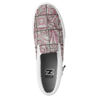 Pink, Black, White Geometric Doodle - Ink Pattern Printed Shoes