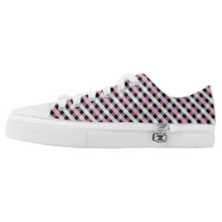 Pink, Black & White Gingham Low Tops