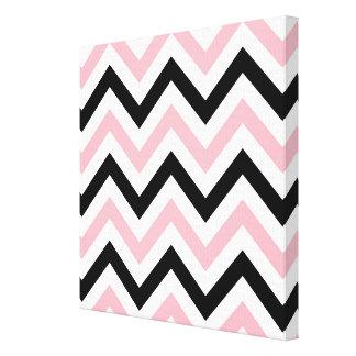 Pink, Black, White Large Chevron ZigZag Pattern Stretched Canvas Print