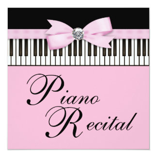 Pink Black & White Piano Keys Recital Invitation
