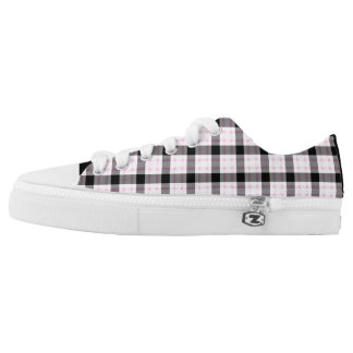 Pink, Black & White Plaid Low Tops
