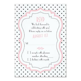 Pink Black White Polka Dot 1950s Wedding RSVP Card 9 Cm X 13 Cm Invitation Card