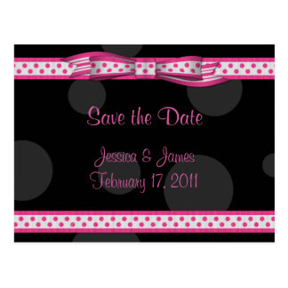 Pink Black White Polka Dot Save the Date Postcard