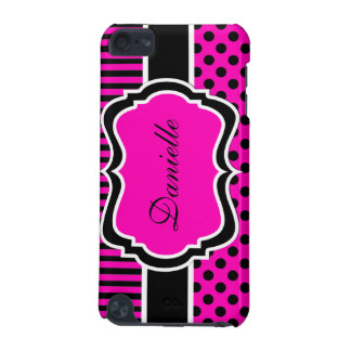 Pink, Black, White Polka Dots Stripes iPod 4G Case