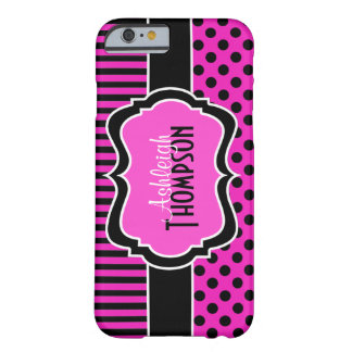 Pink Black White Striped Polka Dots iPhone 6 case Barely There iPhone 6 Case