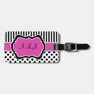 Pink, Black, White Striped Polka Dots Luggage Tag
