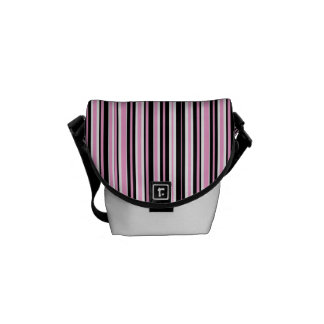 Pink Black White Stripes Mini Messenger Bag