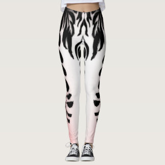Pink Black White Wisteria Leggings by DelynnAddams