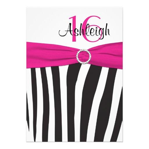 Pink, Black, White Zebra 16th Birthday Invitation