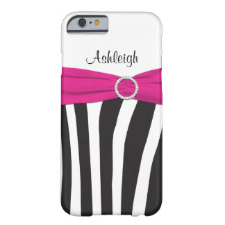 Pink, Black, White Zebra Striped iPhone 6 case