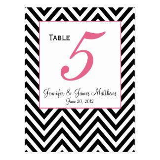 Pink Black White Zig Zag Wedding Table Number Card Postcard