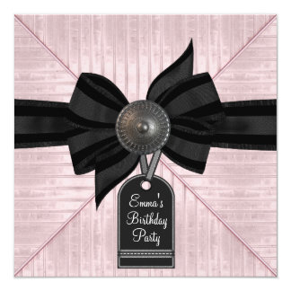 Pink Black Womans Birthday Party Card