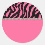 Pink & Black Zebra & Diamonds Address Labels Round Stickers