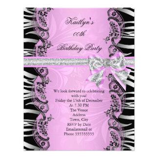 Pink Black Zebra Elegant Birthday Party Invite