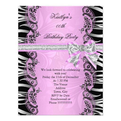 Pink Black Zebra Elegant Birthday Party 11 Cm X 14 Cm Invitation Card ...