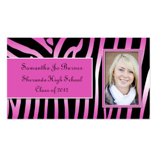 Pink Black Zebra Graduation Handouts Pack Of Standard Business Cards