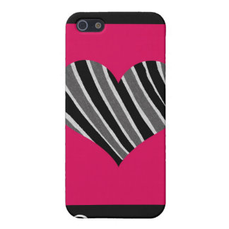 Pink & Black Zebra Heart Case For iPhone 5/5S