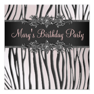 Pink Black Zebra Womans Birthday Party 13 Cm X 13 Cm Square Invitation Card