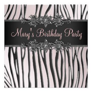 Pink Black Zebra Womans Birthday Party Invitation