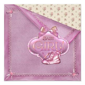 Pink Blanket Rosebuds Booties Baby Girl Shower Announcement