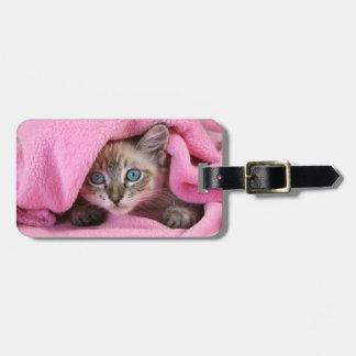 Pink Blankie Baby Siamese Cat Luggage Tag