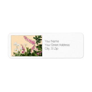 Pink Bleeding Heart Flowers Botanical Art Return Address Label