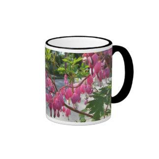 Pink Bleeding Hearts Flower Ringer Mug
