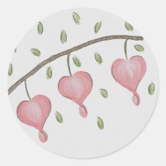 Pink Bleeding Hearts Stickers