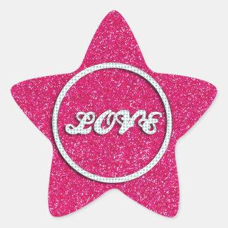 Pink Bling Love Star Sticker