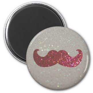 Pink Bling Mustache (Faux Glitter Graphic) 6 Cm Round Magnet