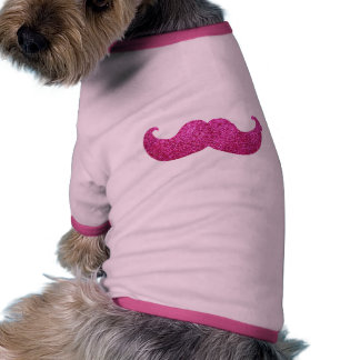Pink Bling Mustache (Faux Glitter Graphic) Pet Tshirt