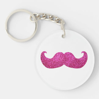 Pink Bling Mustache (Faux Glitter Graphic) Double-Sided Round Acrylic Key Ring
