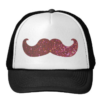 Pink Bling Mustache Faux Glitter Graphic Mesh Hat