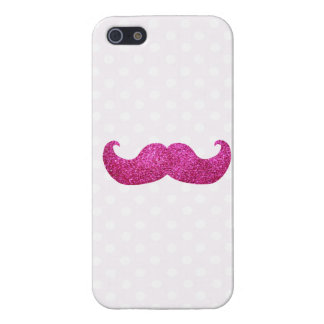 Pink Bling Mustache (Faux Glitter Graphic) iPhone 5 Case