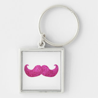Pink Bling Mustache (Faux Glitter Graphic) Key Chains